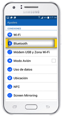 samsung j1 how to turn on bluetooth